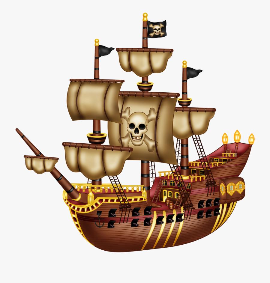 Pirata Craft Party, Pirate Clip Art, Pirate Party, - Cartoon Captain Hook Ship, Transparent Clipart