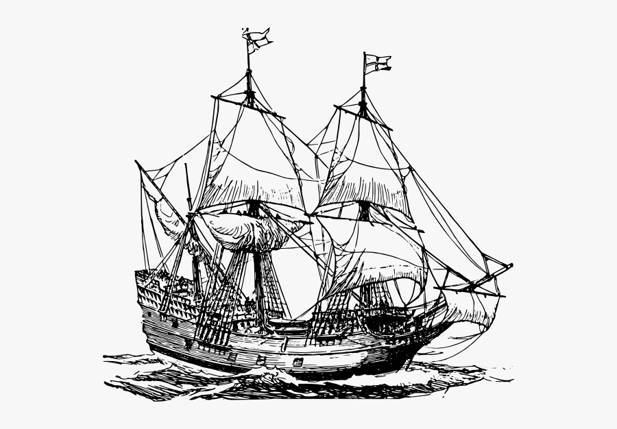 Pirate Ship Black And White Ship, Transparent Clipart