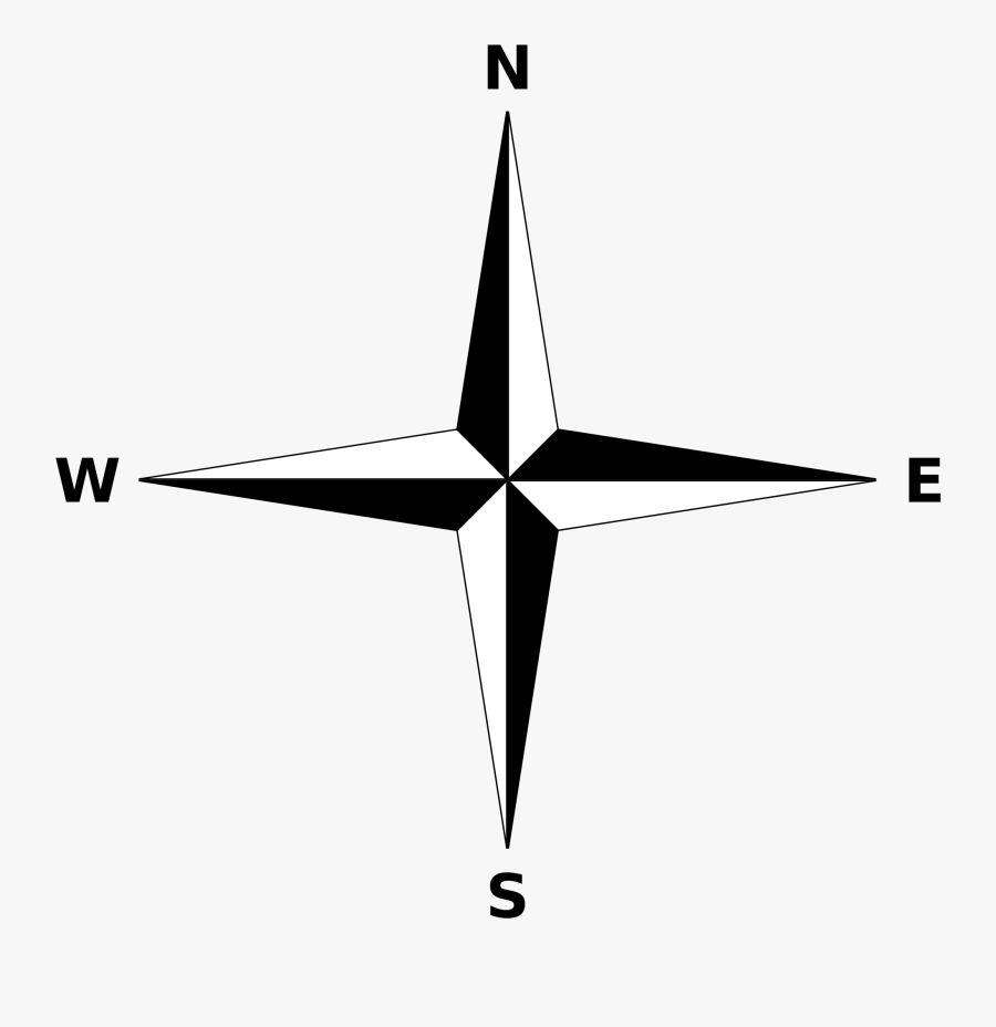Simple Compass Rose - North North East Direction, Transparent Clipart