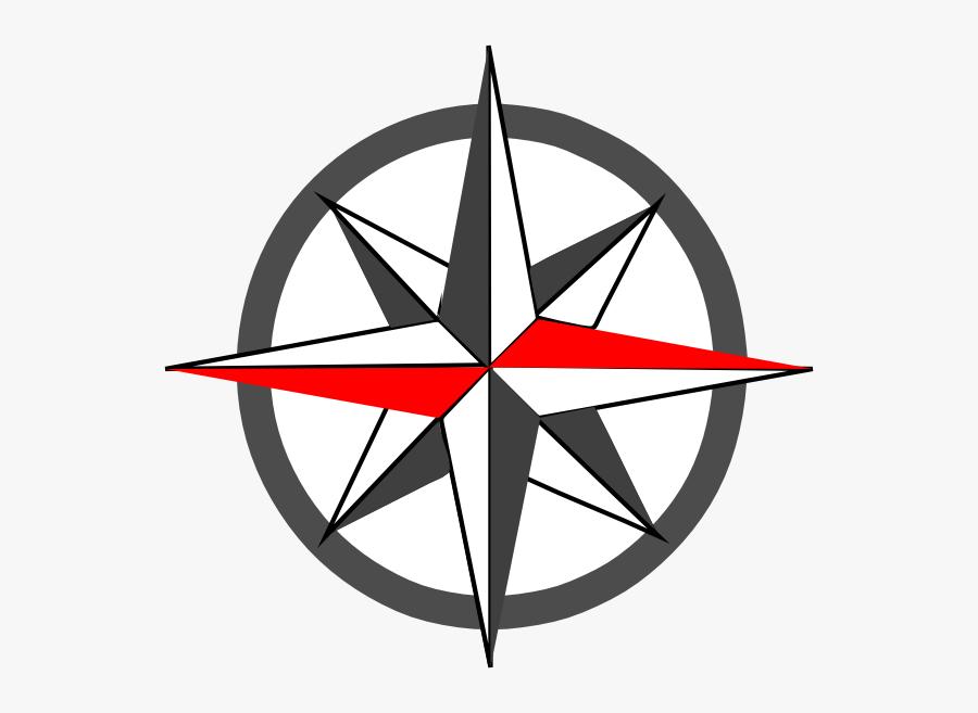Red Compass Rose Logo, Transparent Clipart