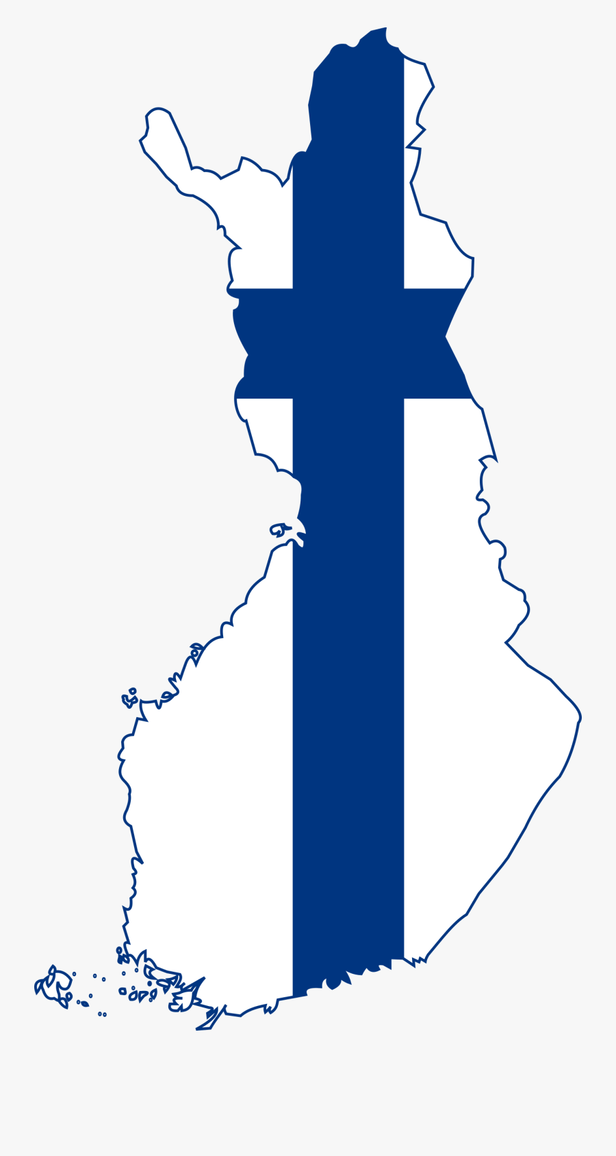 Clipart - Finland Map With Flag, Transparent Clipart
