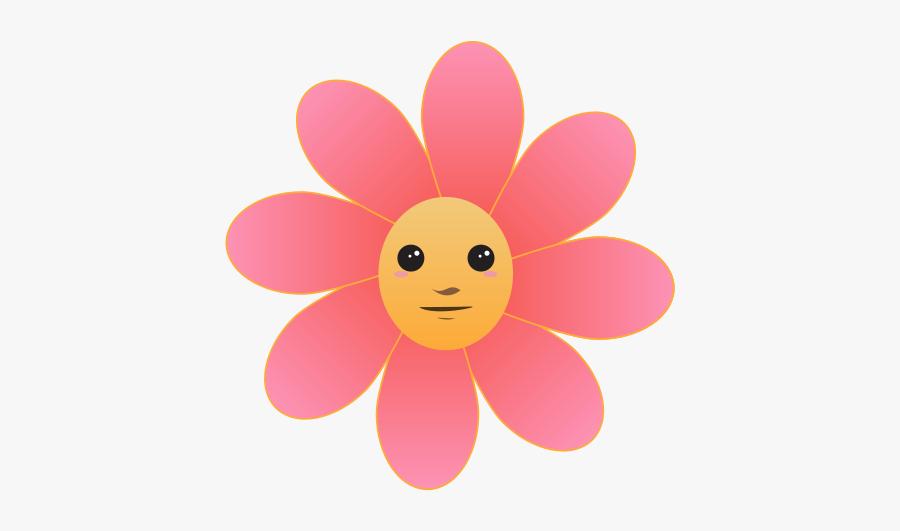 Flower Face - Flower With Face Cartoon, Transparent Clipart