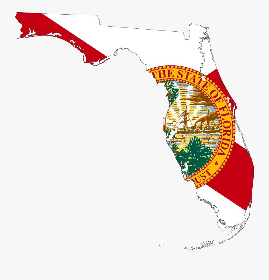 Clip Art Clipart Florida Map - State Of Florida Flag Map, Transparent Clipart