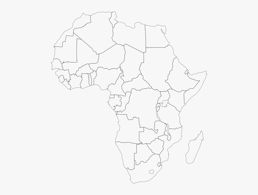 Free Vector Africa Political Map Clip Art - Blank Political Map Of Africa, Transparent Clipart