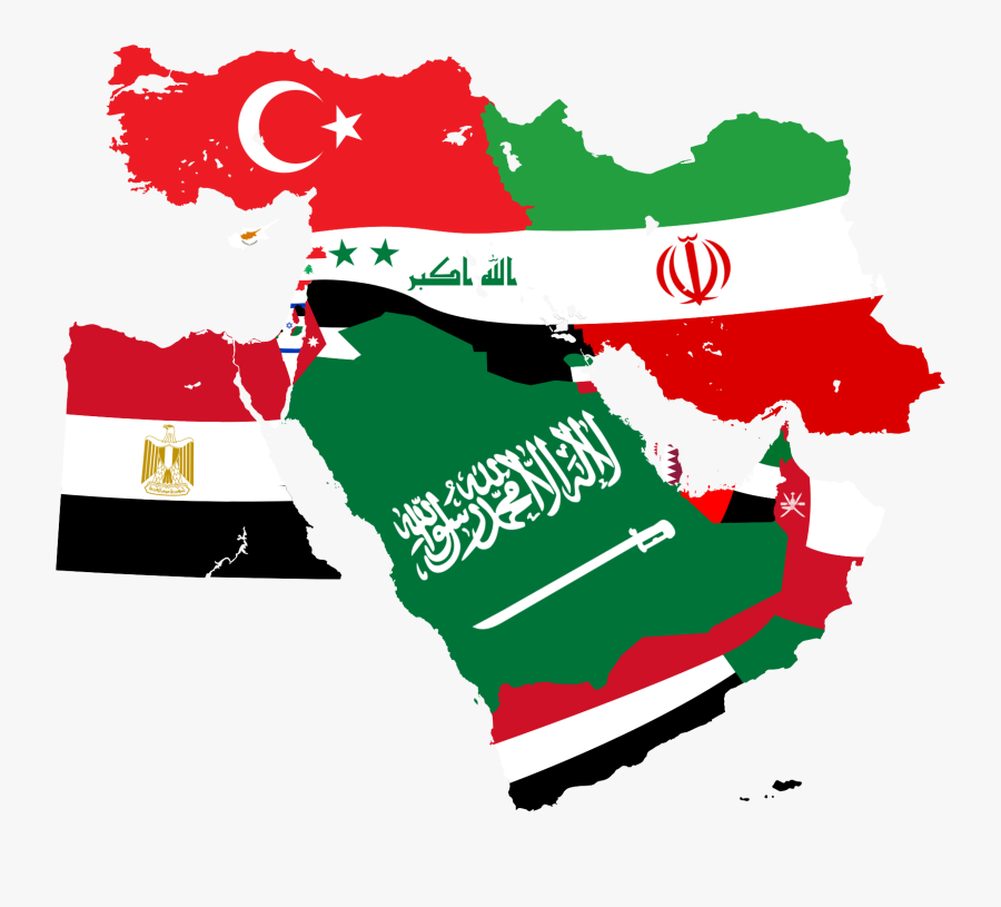East Germany Flag Clipart Weather - Middle East Map With Flags, Transparent Clipart