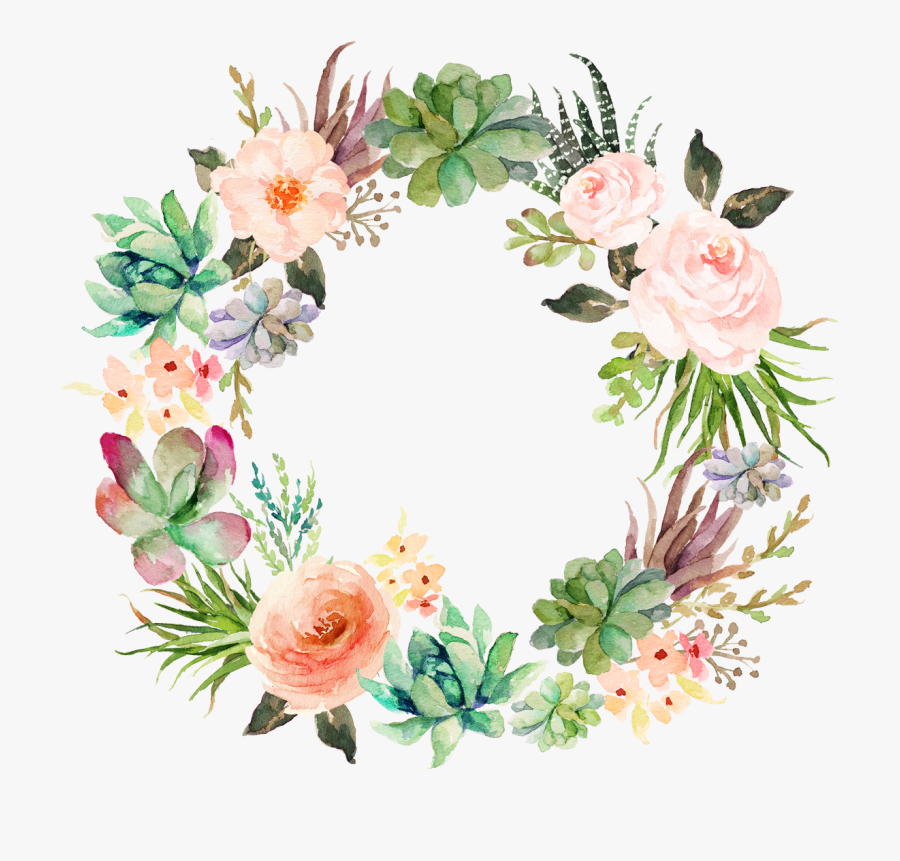 Wedding Invitation Paper Watercolor Painting Wreath - Printable Watercolor Floral Wreath, Transparent Clipart