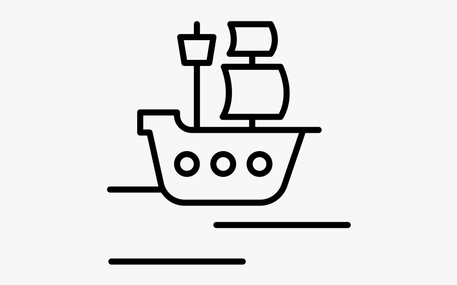 Out Line Of A Pirate Ship, Transparent Clipart