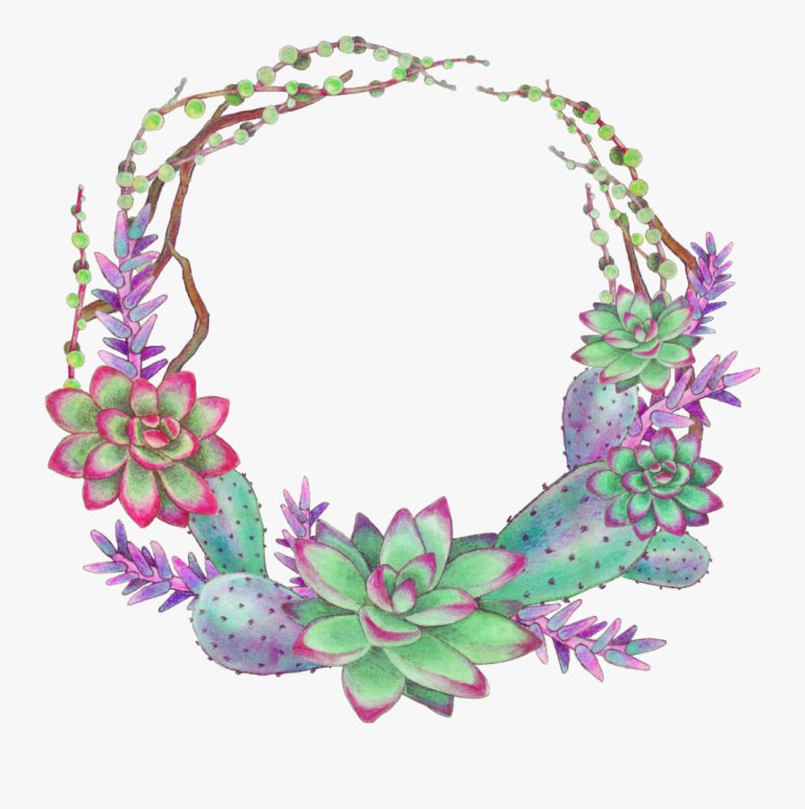 Ftestickers Scsucculent Succulents Wreath Colorful - Succulent Wreath Png, Transparent Clipart