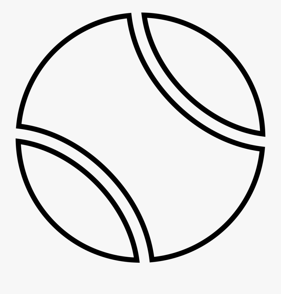 Transparent Tennis Court Clipart Black And White - Outline Of A Tennis Ball, Transparent Clipart