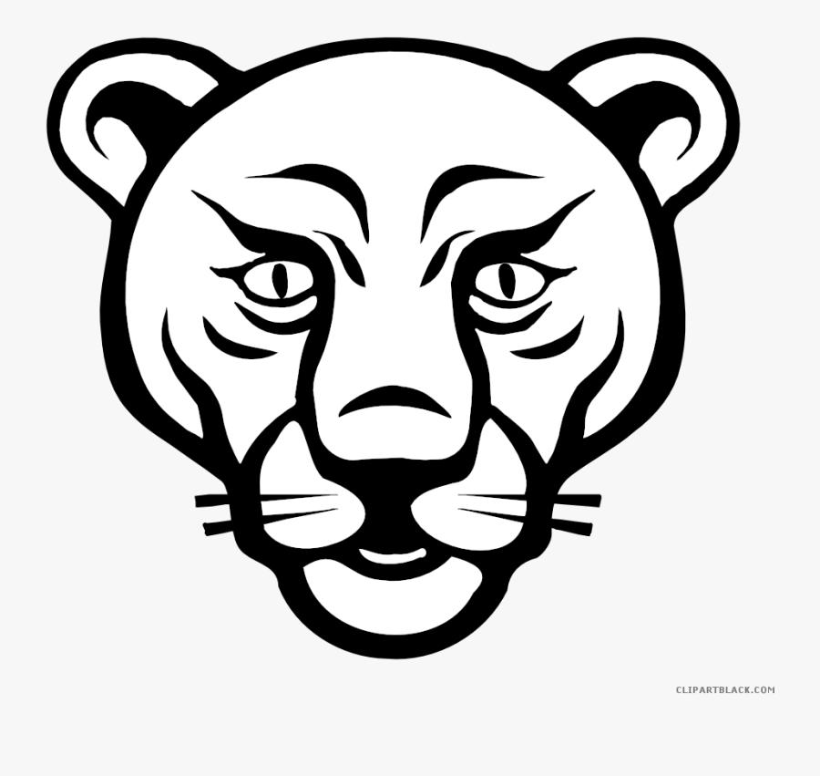 Lion Face Animal Free Black White Clipart Images Clipartblack - Cartoon Drawing Lion Face, Transparent Clipart