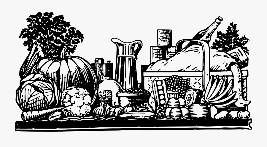 Visual Arts,recreation,art - Food Table Cartoon Black And White, Transparent Clipart