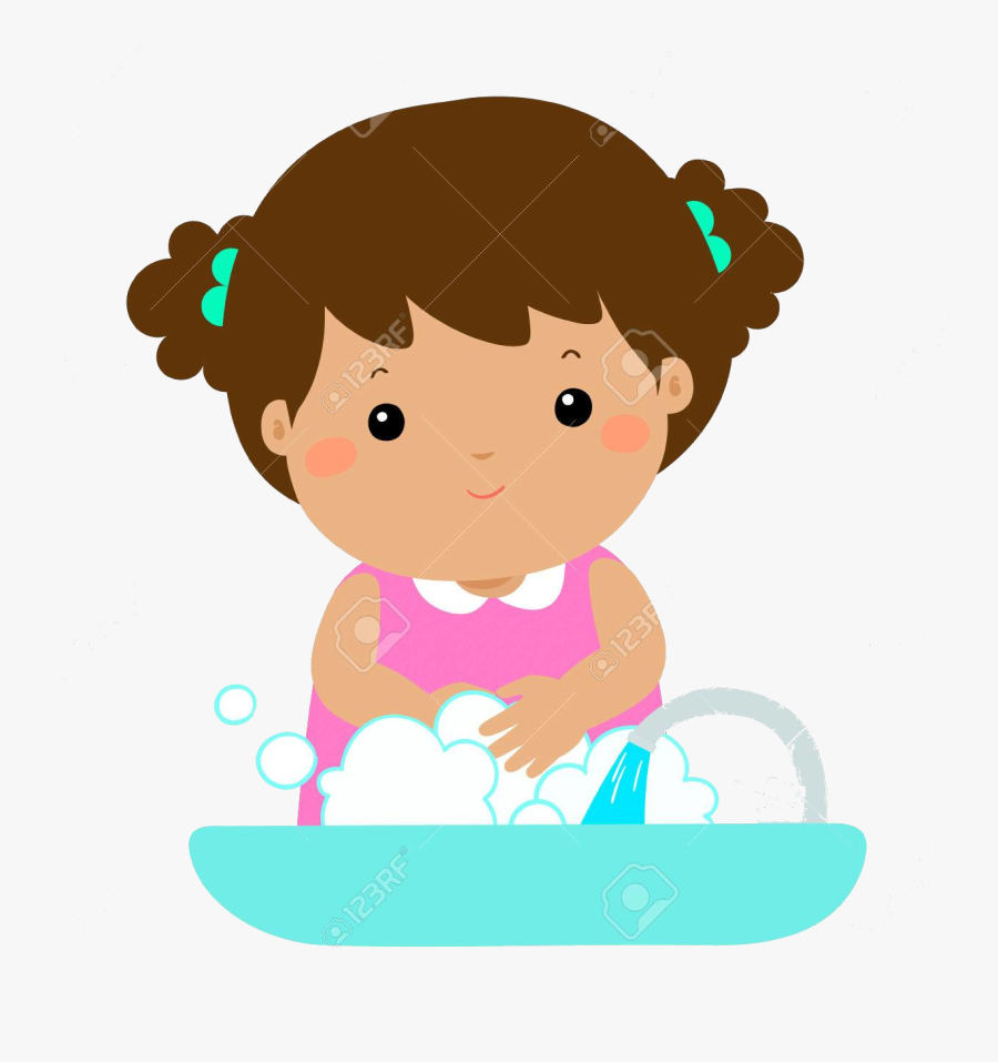 Washing Hands Cute Girl In Washbasin Vector Illustration - Cute Washing Hands Clipart, Transparent Clipart