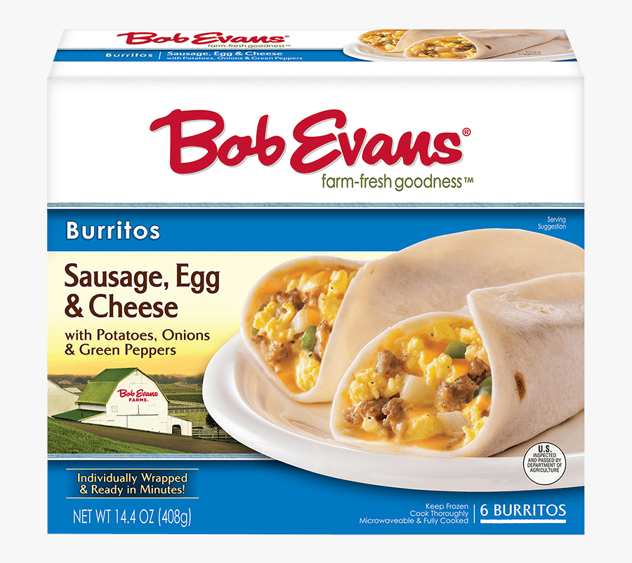 Bob Evans Sausage Egg Cheese Burrito 6 Ct - Bob Evans Oven Baked Macaroni And Cheese Review, Transparent Clipart