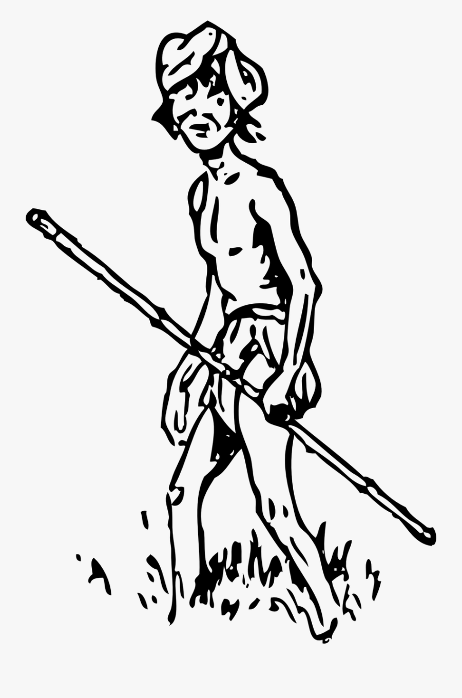 Man Stick Native Free Picture - Aboriginal People Clipart Black And White, Transparent Clipart