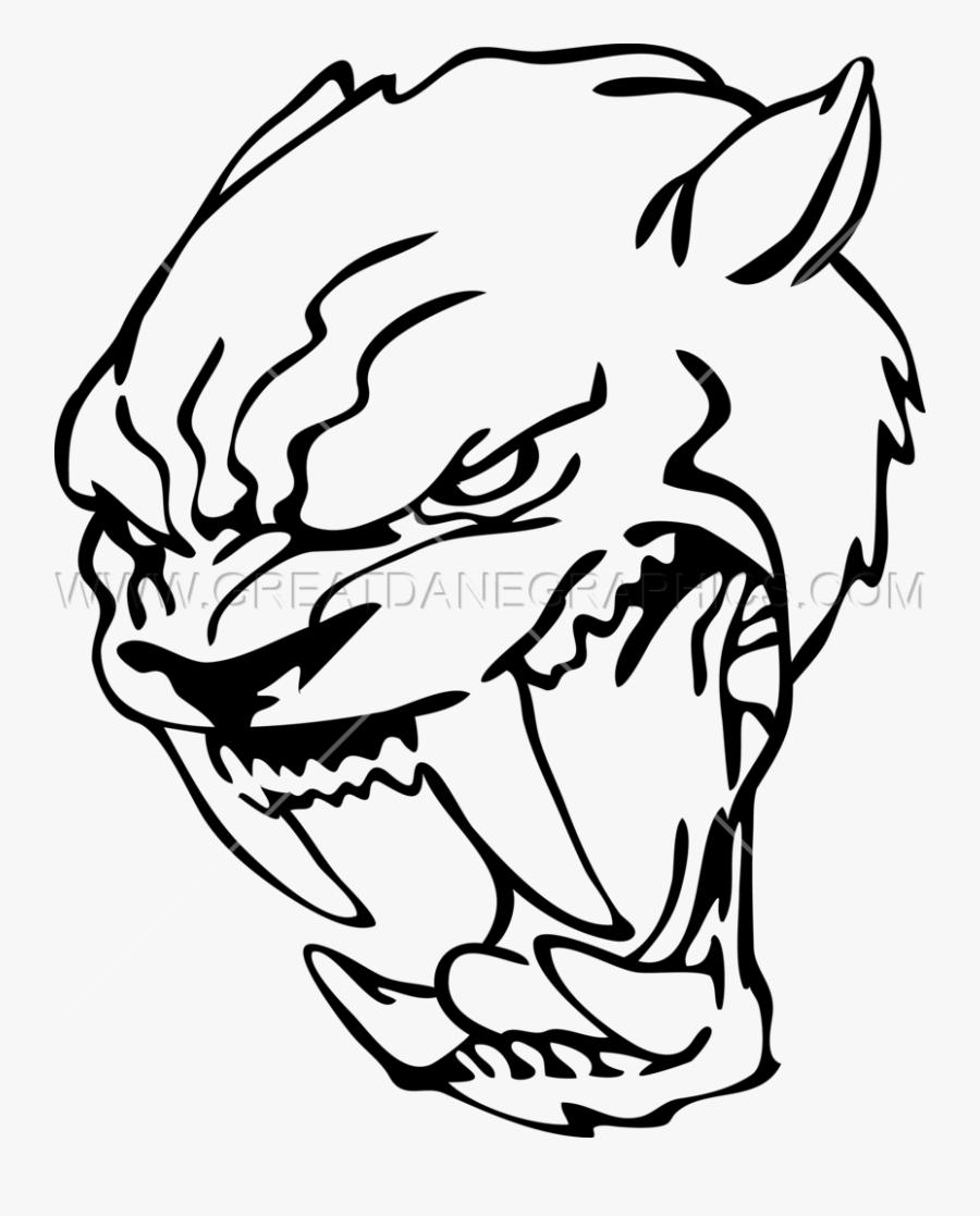 Saber Tooth Cat Face Logo, Transparent Clipart