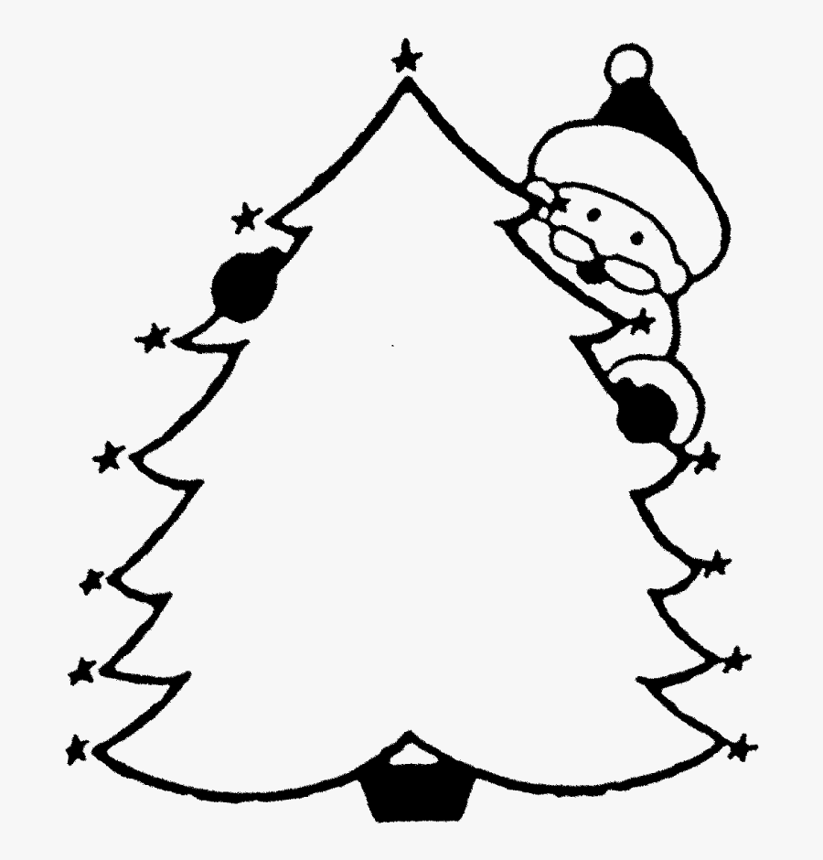"Christmas Tree & Santa Rubber Stamp""  Title=""christmas - Decorate Christmas Tree Coloring Sheet, Transparent Clipart"
