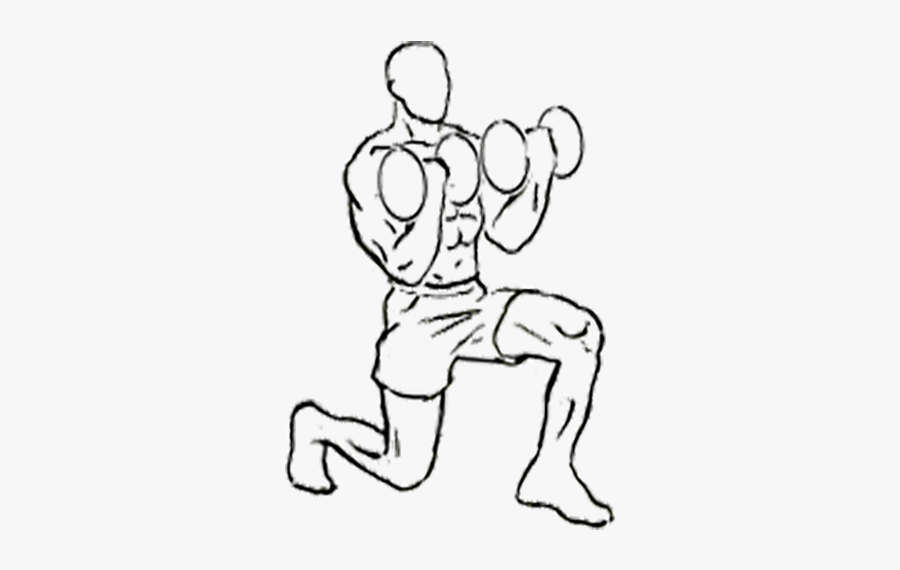 Forward Lunge With Bicep Curl - Drawing Bicep Curl, Transparent Clipart