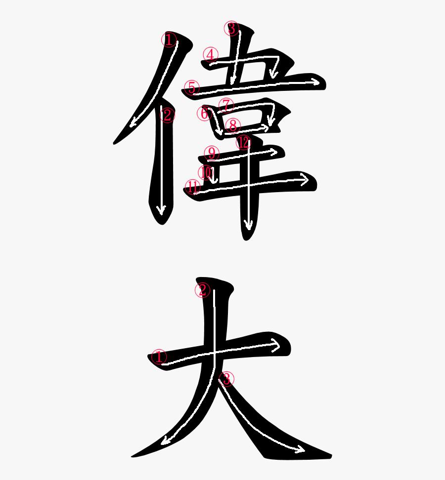Kanji Stroke Order For 偉大 - ヤマザキ パン 草 大福, Transparent Clipart