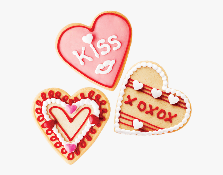 Valentines Season Three Decorated Cookie - Heart, Transparent Clipart