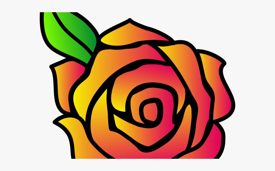 Orange Flower Clipart Single Flower - Draw A Cartoon Rose, Transparent Clipart