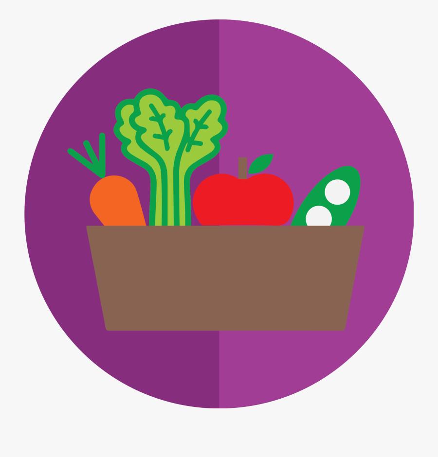 A Basket Of Fruits And Vegetables - Basket Clipart Vegetables And Fruits, Transparent Clipart