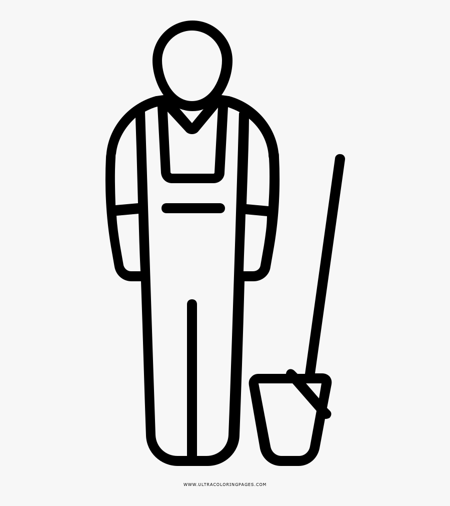 Janitor Coloring Page - Man Hard Hat Icon, Transparent Clipart