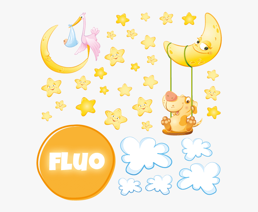 Fluorescent Wall Stickers Kit For Kids Room Sweet Dreams - Saba Banana, Transparent Clipart