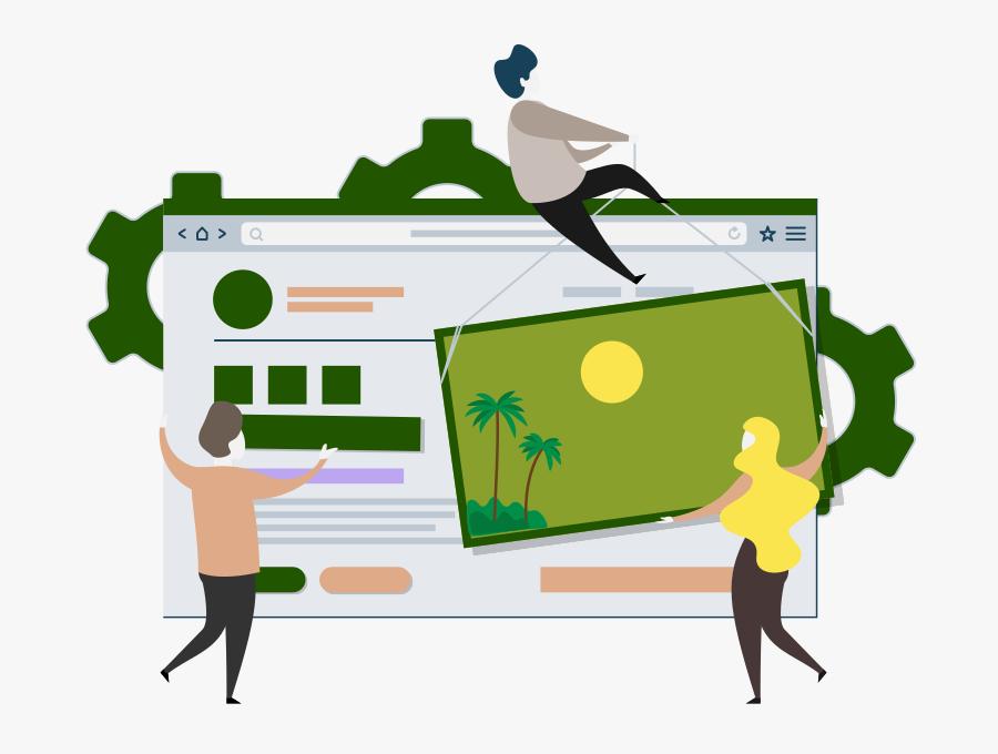 Hotel Website Builder Illustration - Custom Design Template Design, Transparent Clipart