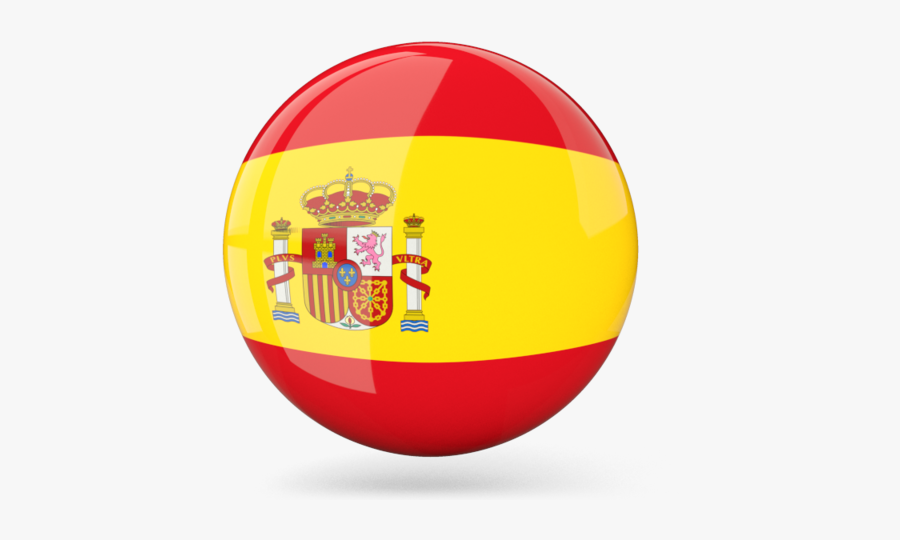 Glossy Round Icon - Spain Flag Circle Transparent Background, Transparent Clipart