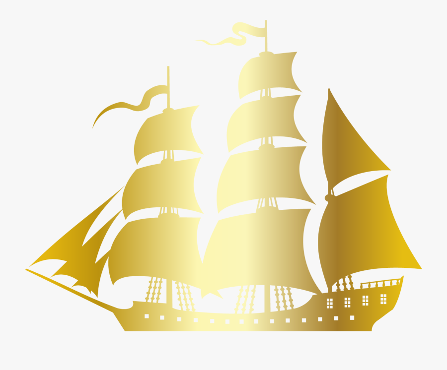 Sailing Ship Silhouette Sailboat - Pirate Boat Vector Png, Transparent Clipart