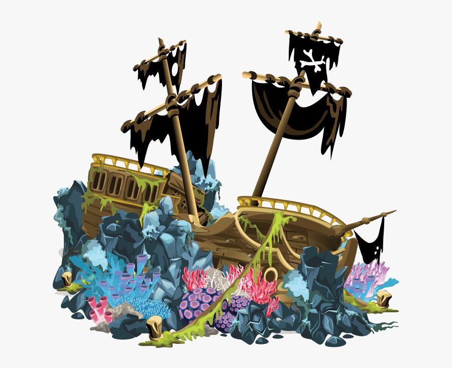 #sukenship #ship #ocean #pirates #pirate #black #flag - Sunken Pirate Ship Stage, Transparent Clipart