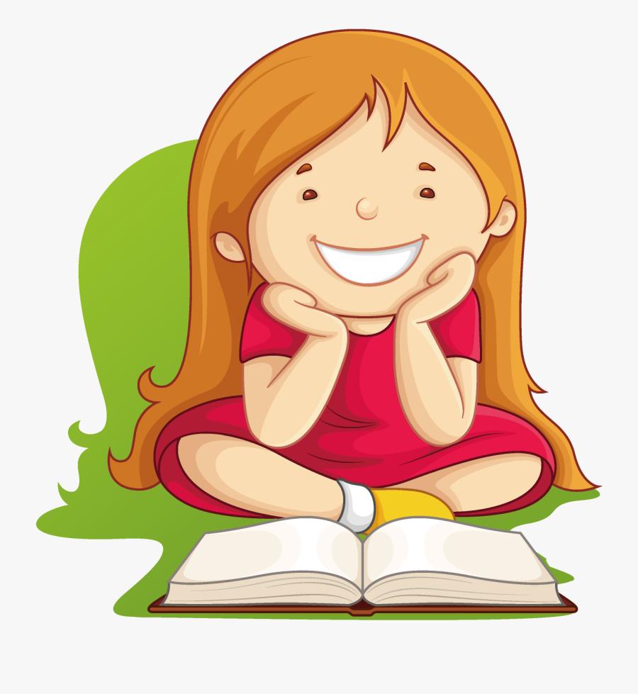 Clip Art Vector Graphics Book Girl Reading - Cartoon Girl Reading A Book, Transparent Clipart