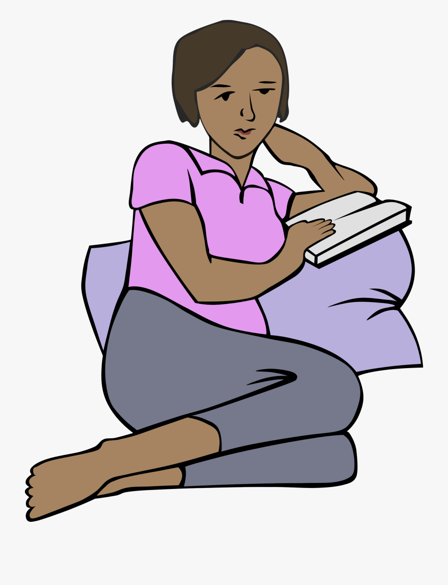 Clipart Girl Reading - Cartoon Of African Woman Reading Book, Transparent Clipart
