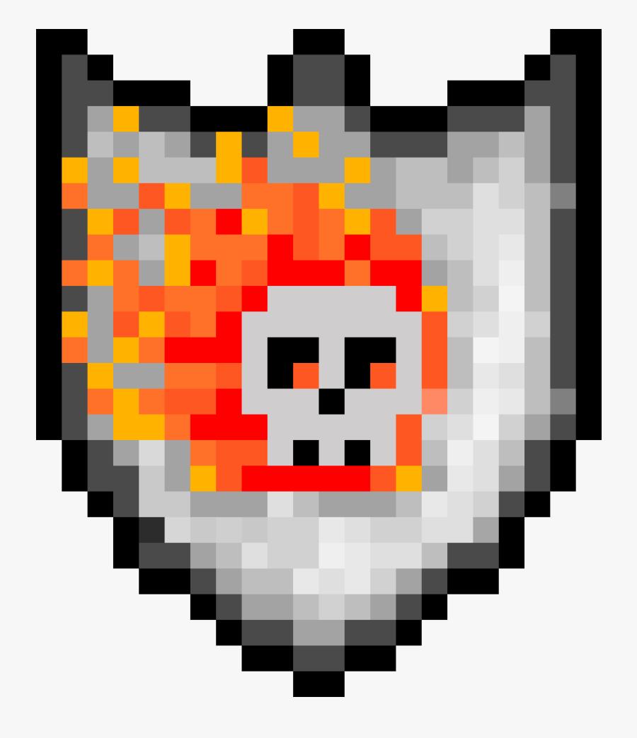 Fire Skull Shield Pixel Art Chicken Nugget Free