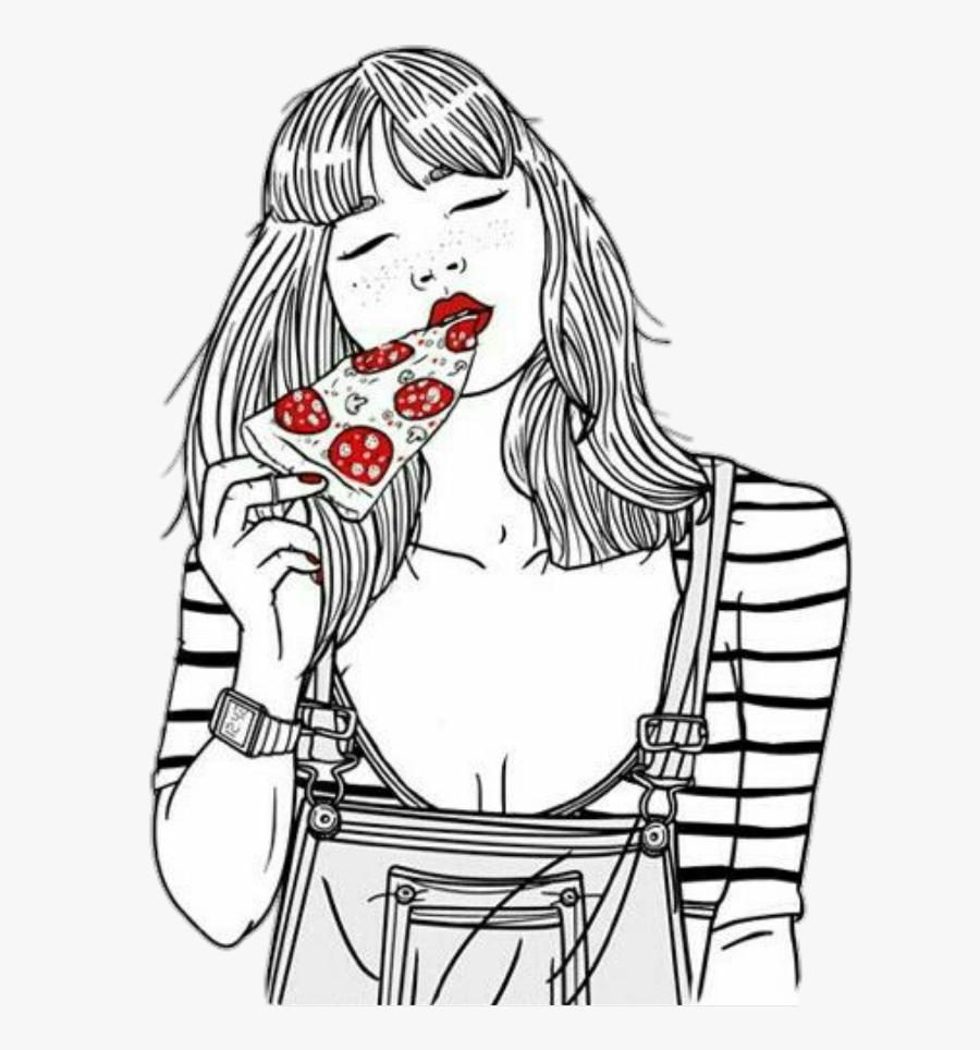 #pizza #girl #eating - Girl Eating Pizza Drawing, Transparent Clipart