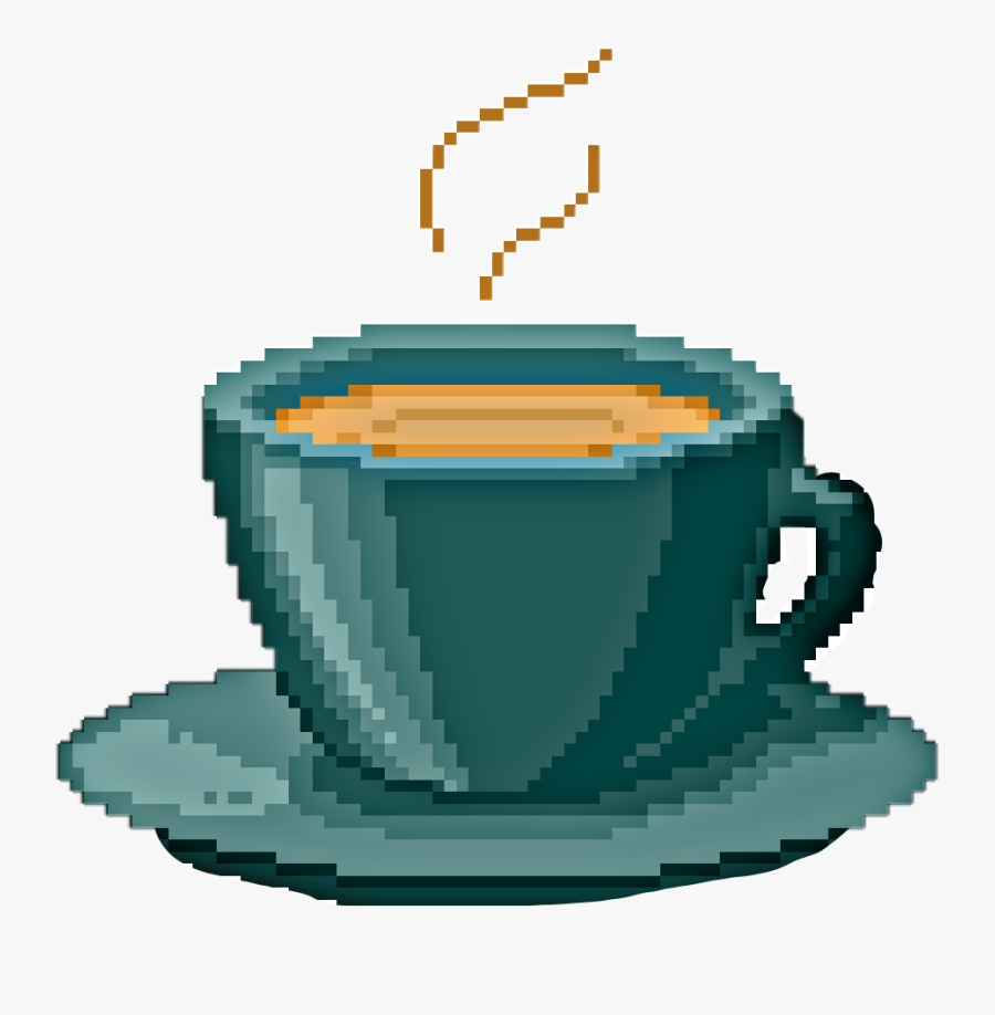 #cup #hotdrink #mug #coffee #latte #drink #art #pixelart - تطريز بالايتامين علامه النصر, Transparent Clipart