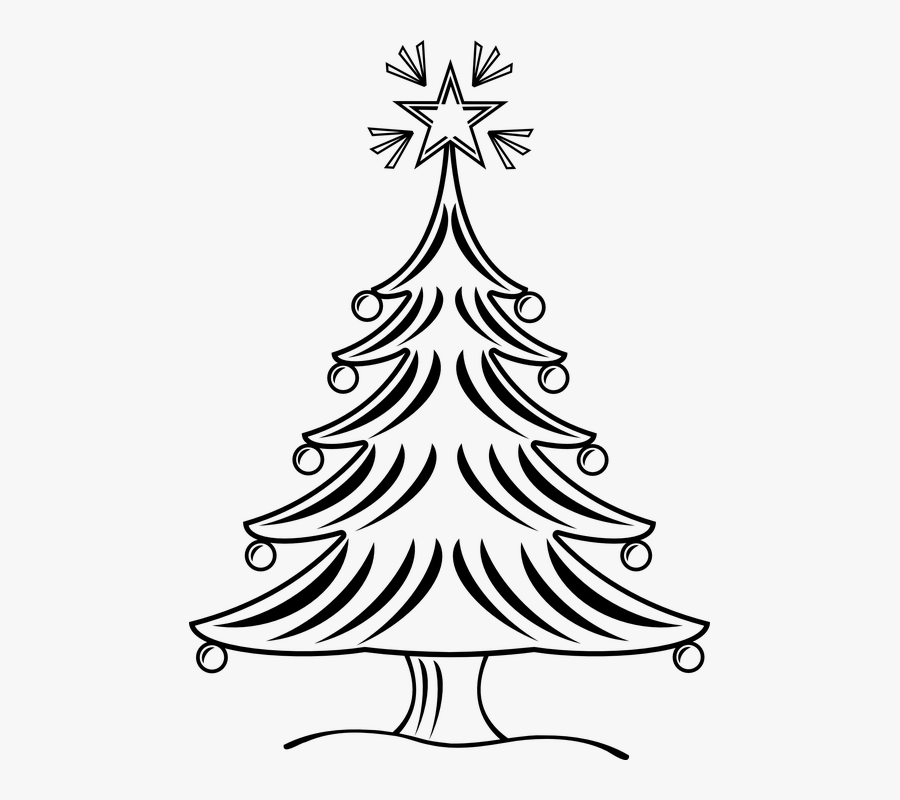 Printable Christmas Tree Coloring Pages - X Mas Tree Clipart Black And White, Transparent Clipart
