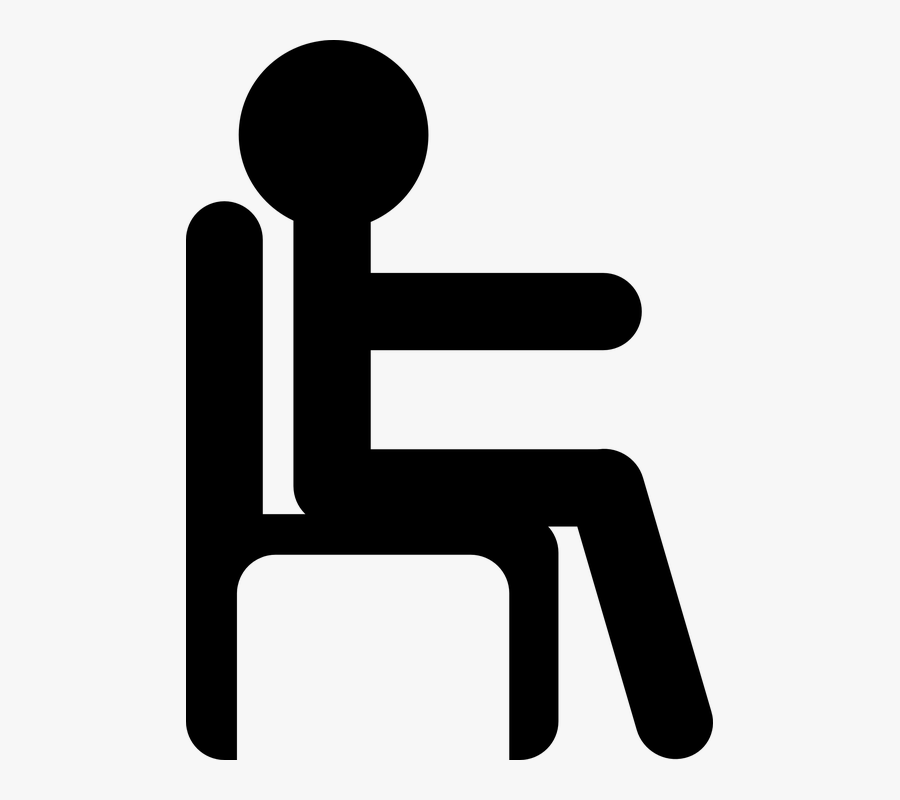 Man, Sit, Chair, Pictogram, Black, Work - Stick Figure In Chair, Transparent Clipart