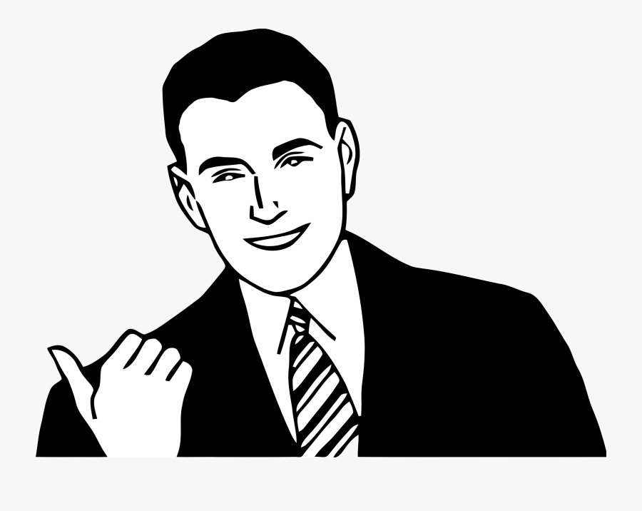 Pointing Man 1 - Men Face Clipart Black And White, Transparent Clipart