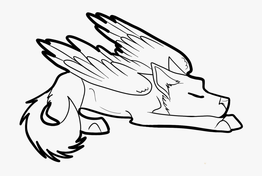 Winged Cat Drawing At Getdrawings Com Free For Personal - Anime Easy Wolf Drawings, Transparent Clipart