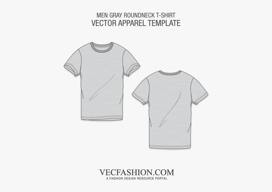 Clip Art Gray T Shirt Template - Round Neck T Shirt Template, Transparent Clipart