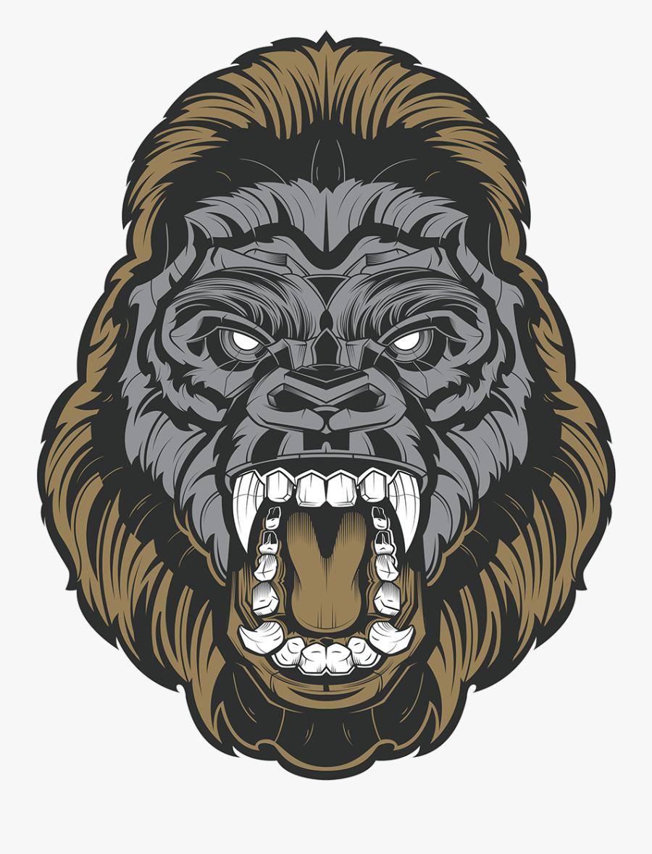 Transparent Gorilla Face Png - Angry Gorilla Drawing, Transparent Clipart