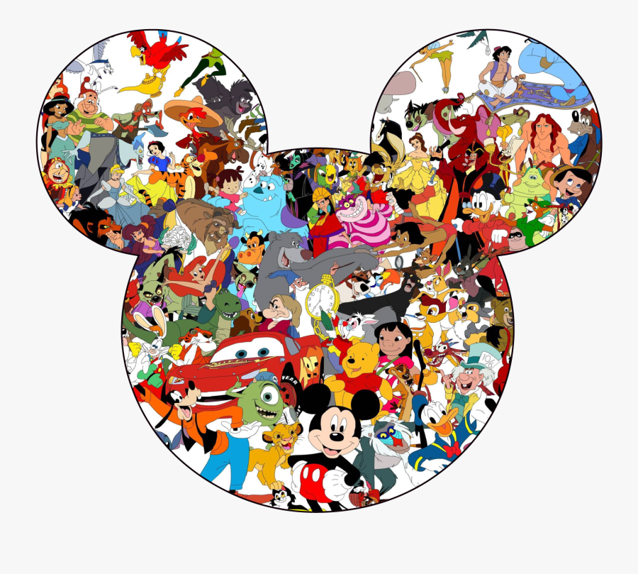 Disney All Characters Mickey Mouse Silhouette Men Women - Disney Characters In Mickey Head, Transparent Clipart