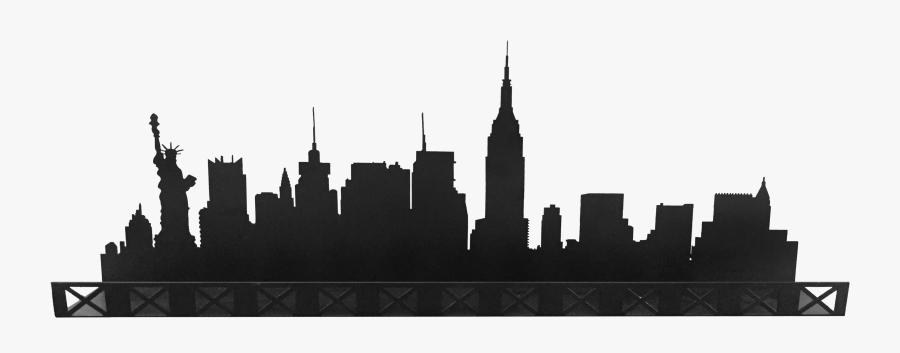 Manhattan Skyline Sticker Decal Illustration - Skyline New York Silhouette, Transparent Clipart
