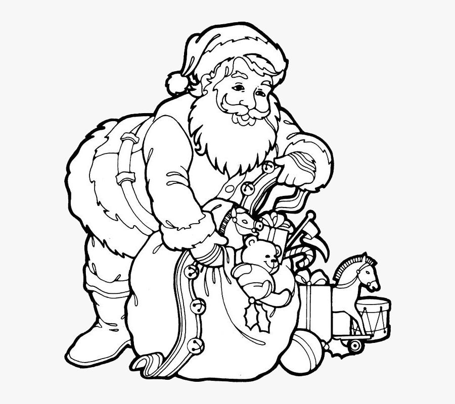 Santa Claus Coloring Page, Transparent Clipart