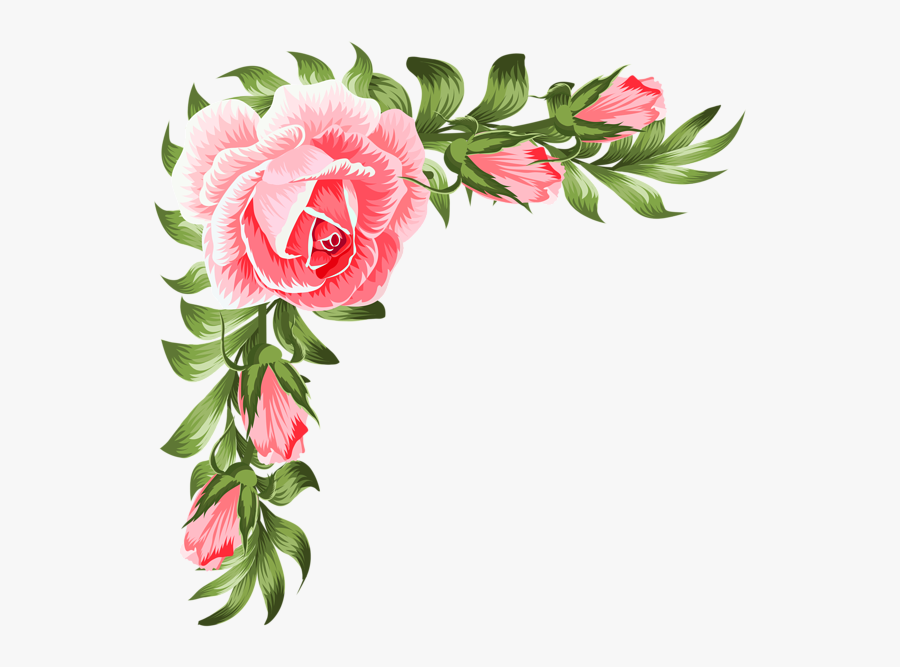 16121035 Rose Corner Decoration Png Clip Art Transparent - Corner Rose Flower Design, Transparent Clipart