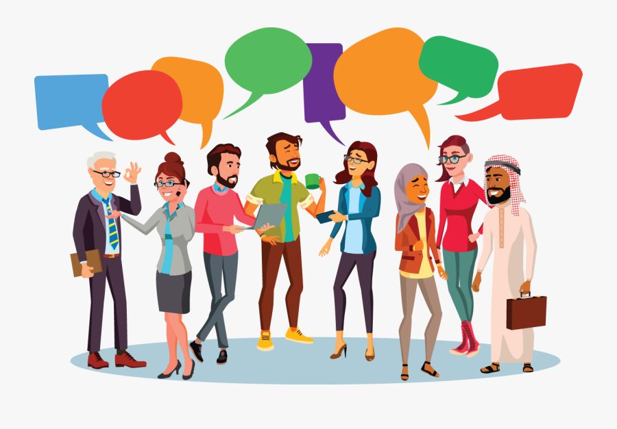 A Diverse Group Of People Chatting With Colorful Speech - People With Bubbles, Transparent Clipart