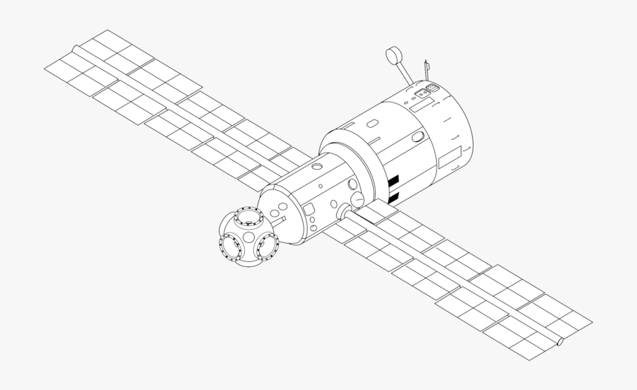 Mir Base Block Drawing - Space Station Line Drawing, Transparent Clipart
