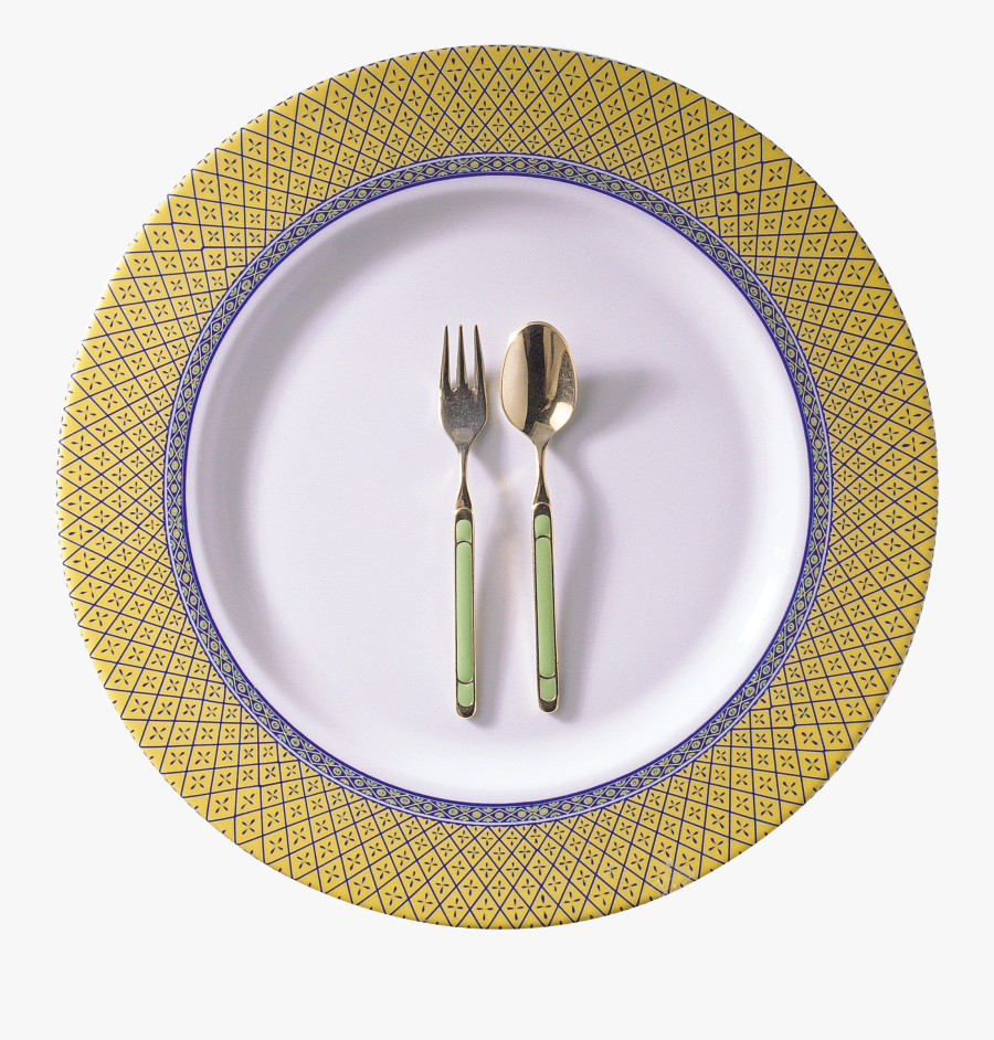 Plate Png Image - Spoon And Fork On Plate, Transparent Clipart