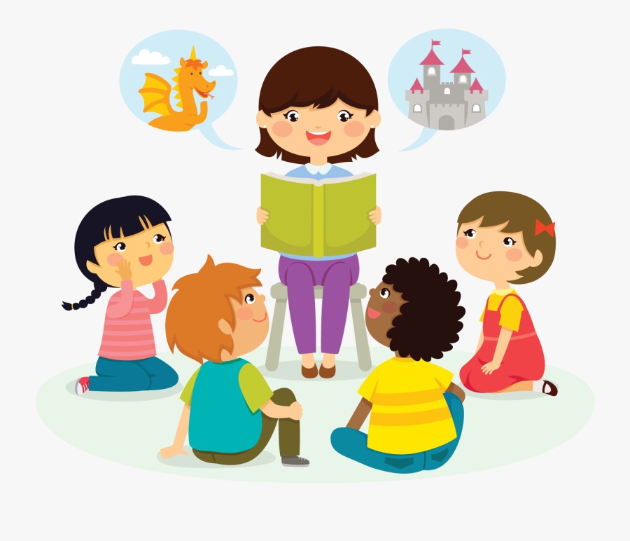 Preschool Story Time Cartoon, Transparent Clipart